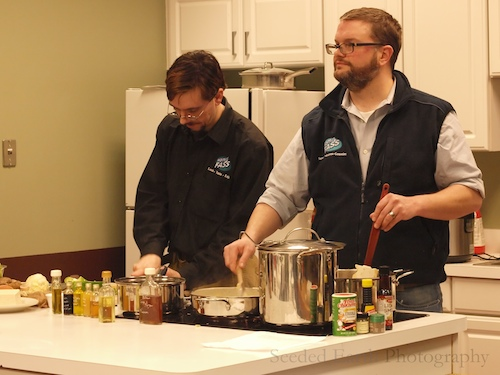 Jacob Schenk, left, and David Eisner-Kleyle, maetsros in the kitchen